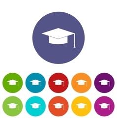 Graduation cap set icons vector image
