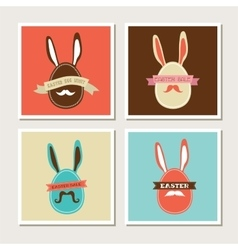 Happy Hipster Easter - set of stylish BUNNY cards vector image vector image