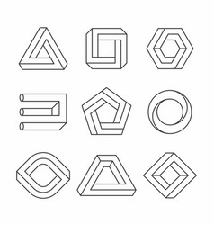 impossible shapes optical objects vector image vector image