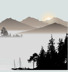 sunrise on the lake during foggy day vector image vector image