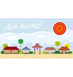 Asia travel background vector image