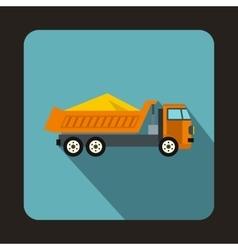 Dump truck icon flat style vector image