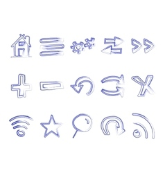 Hand drawn web icons and logo arrows internet vector image vector image