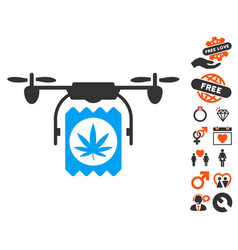 Drone cannabis delivery icon with lovely bonus vector