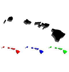 3d map of hawaii vector image