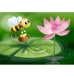 A bee with a pot of honey above a waterlily vector