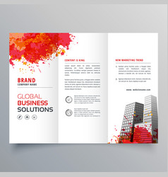 Abstract red ink splatter trifold brochure design vector