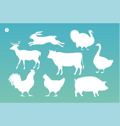 animals silhouette set white silhouette of vector image