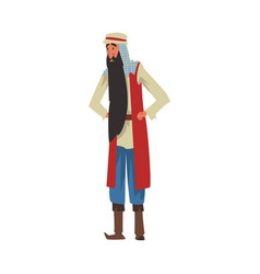 Arab man arabian fairy tale cartoon character vector