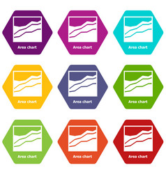 Area chart icons set 9 vector