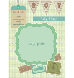 Baboy arrival card with photo frame and place f vector