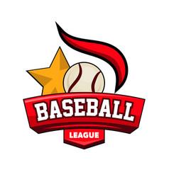baseball league logotype with ball star vector image