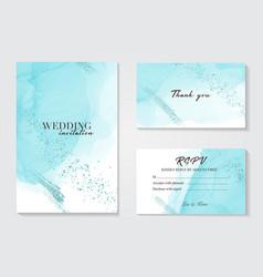 blue wedding invitation alcohol ink card vector image