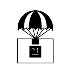 Box carton with parachute delivery icon vector