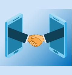 business handshake via phones online vector image