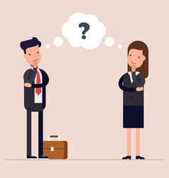 businessman and businesswoman or managers thinks vector image