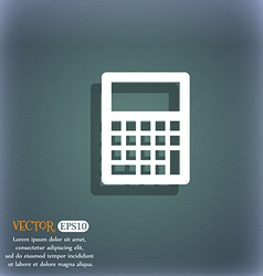 Calculator icon On the blue-green abstract vector image