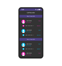 Call recorder smartphone interface template vector