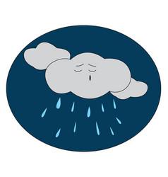 Cartoon a rainy night over dark blue vector
