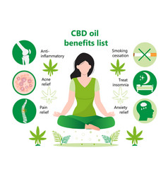 Cbd oil benefits lists infographic human vector
