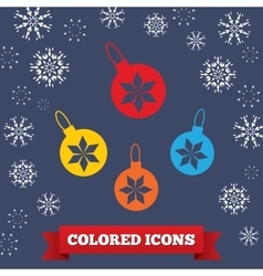 Christmas ball icon Holiday symbol Colored vector