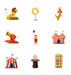 Circus equipment icons set cartoon style vector