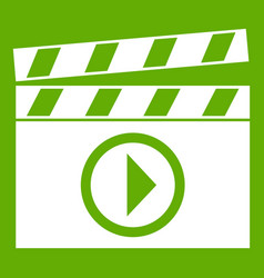 clapperboard for movie shooting icon green vector image