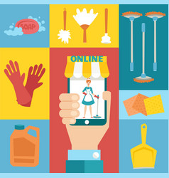 Cleaning service online app collage with isolated vector