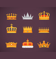 collection of crown awards for winners champions vector image