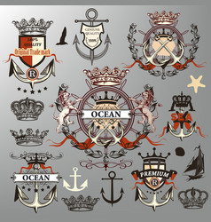 collection or set nautical labels crowns vector image