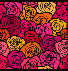 Colorful Vintage roses seamless background vector image