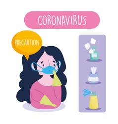 Covid 19 coronavirus infographic precaution girl vector