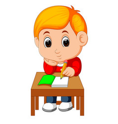 Cute boy writing and thinking be happy vector