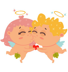 cute couple angels cupids or amur valentines vector image