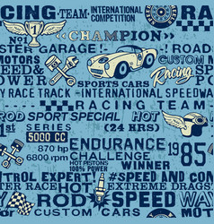 cute speedway racing team elements wallpaper vector image