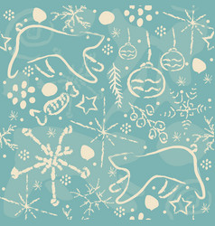 cute winter pattern with bears and ornaments vector image