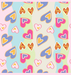 decorative pattern with hand drawn hearts on vector image