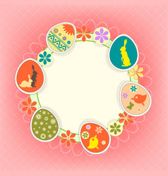 Design photo frame with easter eggs vector
