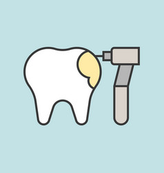 Drilling tooth dental related icon filled outline vector