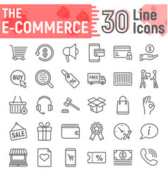 e commerce line icon set online store symbols vector image