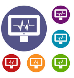 Electrocardiogram monitor icons set vector