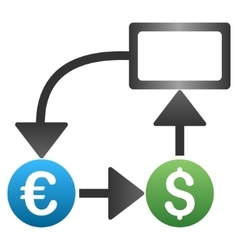 Euro Dollar Flow Chart Gradient Icon vector image