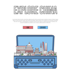 Explore china poster with open suitcase vector
