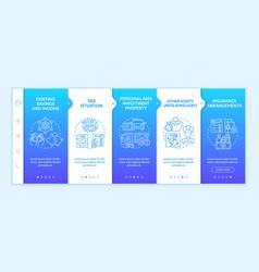 Extensive wealth plan elements onboarding template vector
