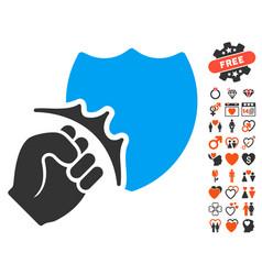 fist strike shield icon with valentine bonus vector image