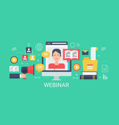 flat modern concept webinar banner with vector image