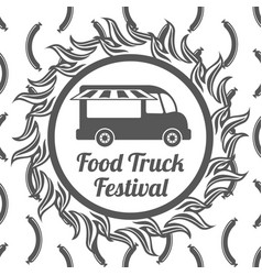 Food truck festival banner seamless pattern vector