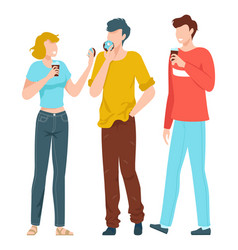 friends together young people taking selfie in vector image
