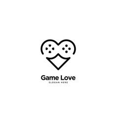 Game love logo outline monoline vector