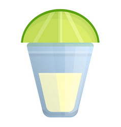 glass lime tequila icon cartoon style vector image